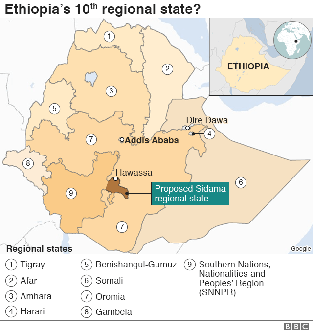 Map of Ethiopia's regions