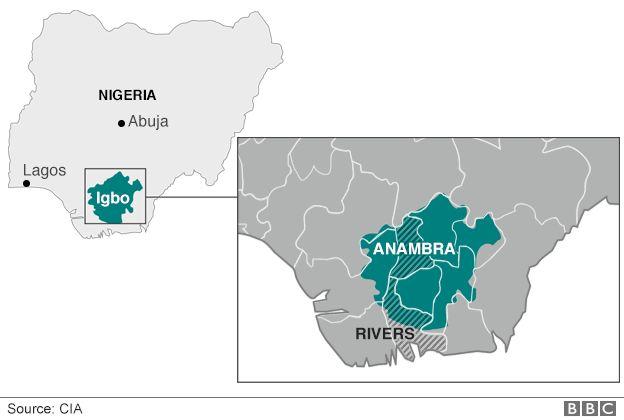 Map of Igbo-speaking areas in Nigeria