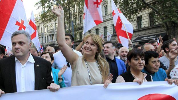 Sandra Roelofs Tbilisidə keçirilən yürüşdə