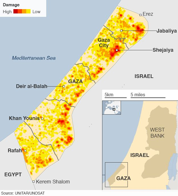 Map of Gaza destruction
