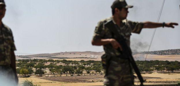 Soldado turco na cidade de Karkamis