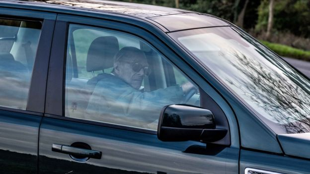 Prince Philip driving near Sandringham Estate on 19 January 2019