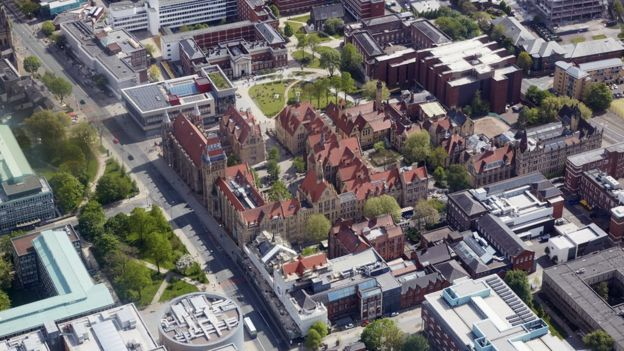 Aerial view of University of Manchester buildings