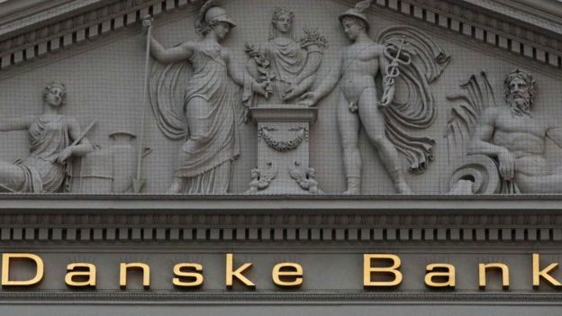 Banco Danske sinal na frente do prédio