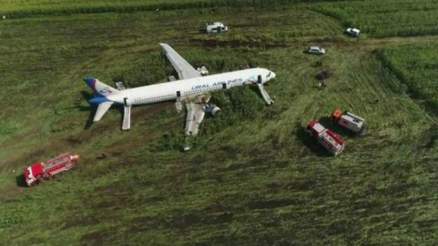 Avión después del aterrizaje forzoso.