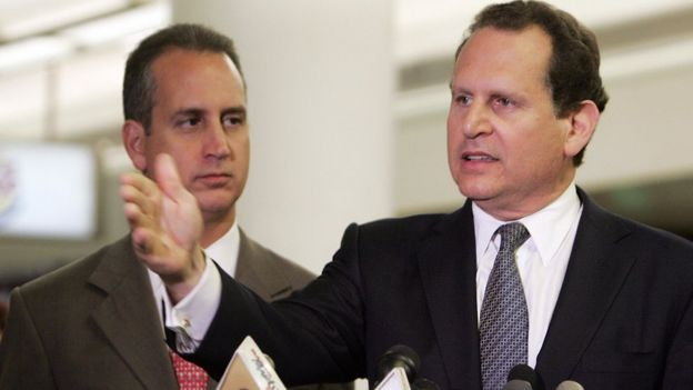 Cuban-American member of the US House of Representatives Lincoln Diaz-Balart (Right) speaks during a press conference at Miami's International Airport after he and his brother Rep. Mario Diaz-Balart (Left) returned from Washington, DC on 2 August 2006.