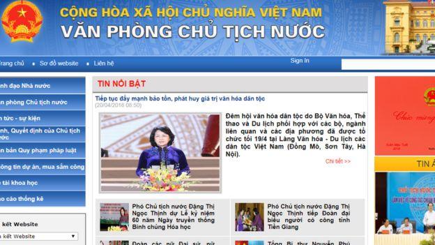 Trang web Văn phòng Chủ tịch nước Việt Nam - ảnh ngày 20/04