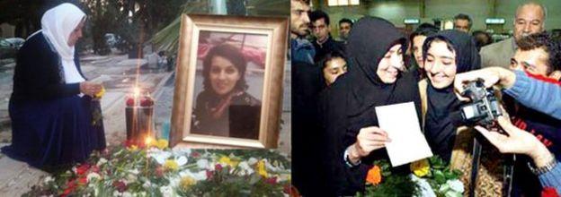 شادی افسانه نوروزی بعد آزادی (راست) و مادر ریحانه جباری در جشن تولد او بر سر مزارش