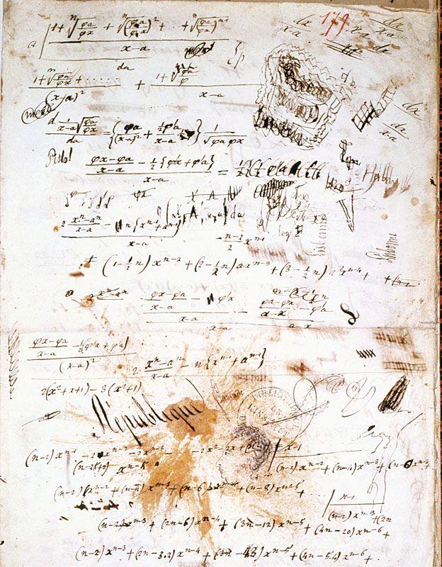 Parte de un manuscrito escrito por Evariste Galois (1811-1832).