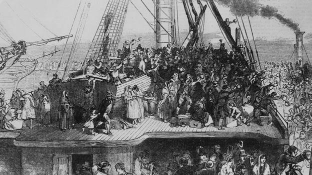 Un millón y medio de irlandeses tuvieron que emigrar. La mayoría, a América del Norte.