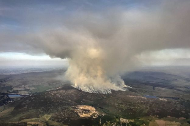 Picture showing fire on moors