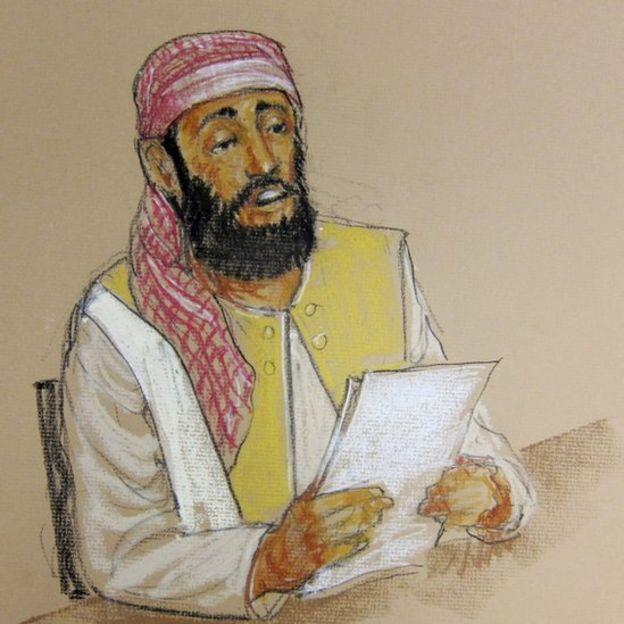 Ramzi bin al Shibh retratado durante una audiencia en la prisión de Guantánamo en 2012.
