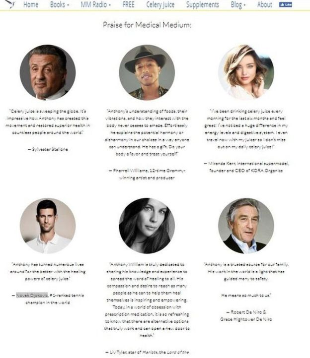 Celebrity endorsements on the Medical Medium website