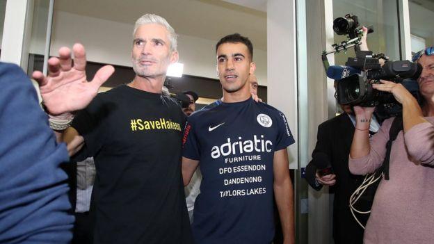 Hakeem al-Araibi (r) with football activist Craig Foster