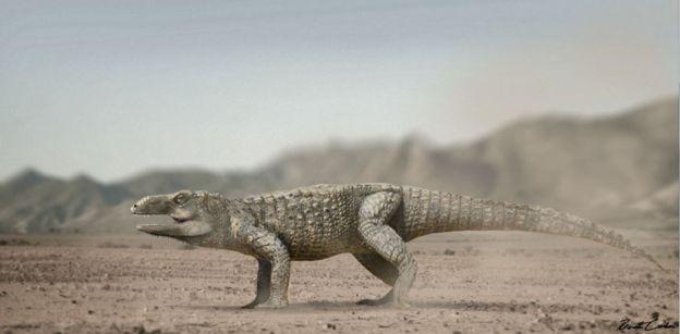 Concepção artística de como teria sido o Pagosvenator candelariensis, de corpo inteiro, quando vivo