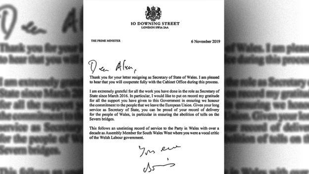 Boris Johnson's response to Alun Cairns' resignation
