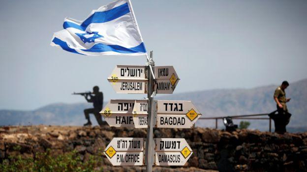 Foto do arquivo mostrando a posição israelense nas colinas ocupadas de Golã (10 de maio de 2018)