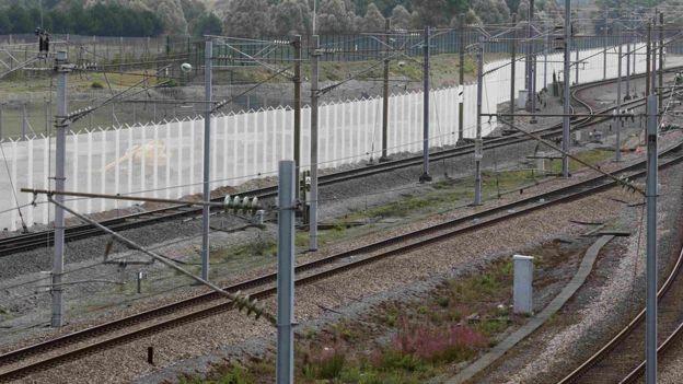 Security fencing near Eurotunnel entrance in Calais