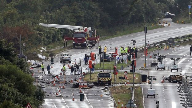 Emergency services at the crash site