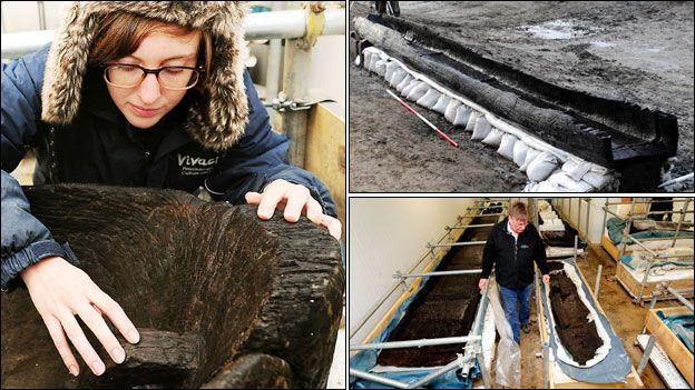 Emma Turvey works on Bronze Age long boat; Bronze Age long boat in quarry; Ian Panter with boat in cold storage at Flag Fen