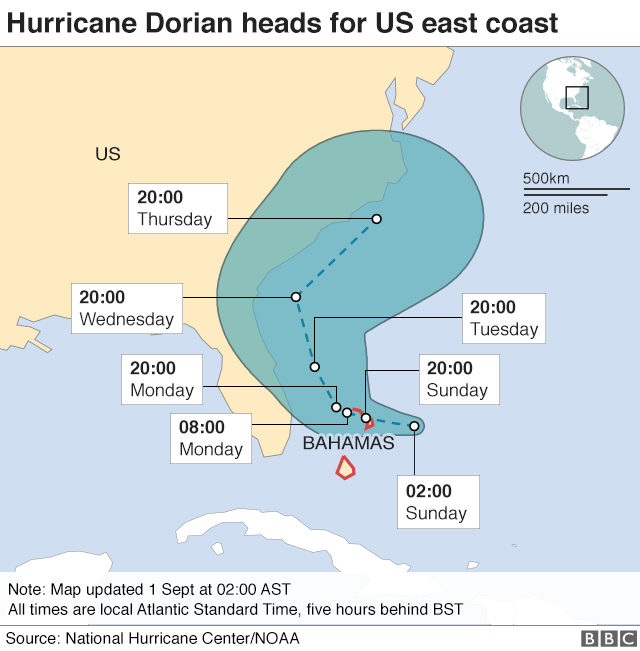 Map showing path of Hurricane Dorian