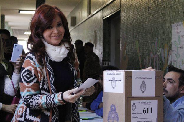 Cristina Fernández de Kirchner votando el 27 de octubre de 2019