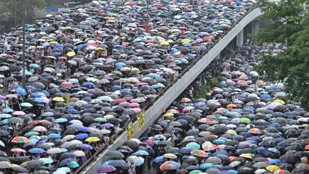 Protesters march during a rally against a controversial extradition law proposal in Hong Kong on June 12th 2019
