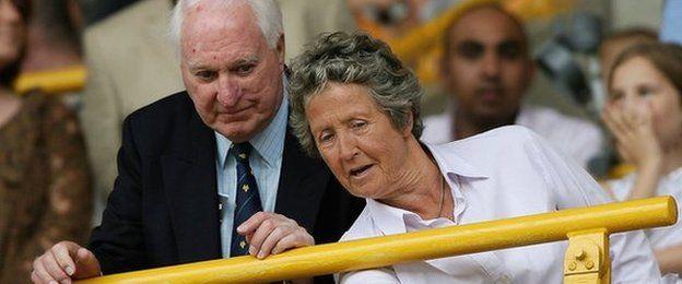Sir Jack Hayward and Rachael Heyhoe Flint