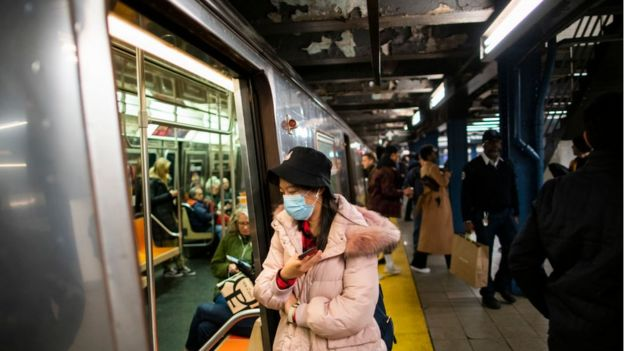 Woman in face mask in New York