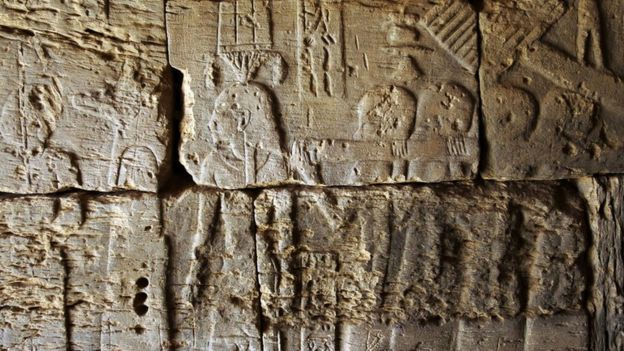 A bas-relief in one of the pyramids at the Meroe archaeological site, about five km (three miles) east of the Nile.
