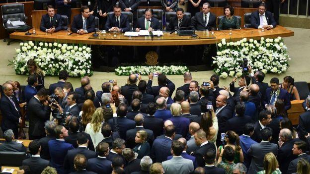Jair Bolsonaro em cerimônia de posse no Congresso