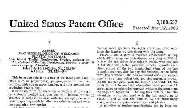 Patente de la bolsa de plástico desarrollada por Thulin