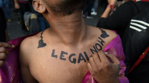 Member and supporter of the lesbian, gay, bisexual, transgender and queer (LGBTQ) community flaunts his body art at New Delhi's Queer Pride Parade in India