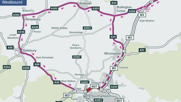 M27 diversion route map