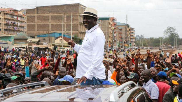 Raila Odinga addresses his supporters, who were facing off against police during their running battles in Riverside area in Ruaraka, in Nairobi, Kenya, 19 November 2017