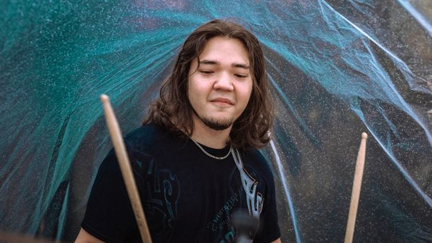 Dmitry Fyodorov playing the drums