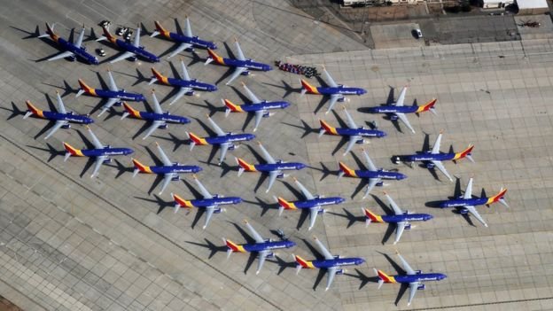 Southwest Airlines Boeing 737 MAX aircraft in California after being grounded