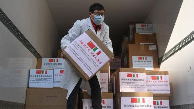 Отправка китайской помощи в Италию