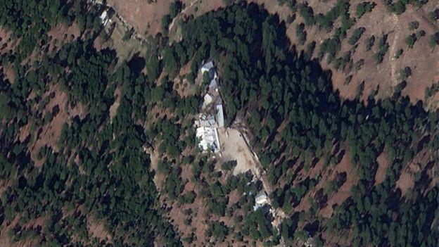 A cropped version of a satellite image shows a close-up of a madrasa near Balakot, Khyber Pakhtunkhwa province, Pakistan, March 4, 2019. Picture taken March 4, 2019.