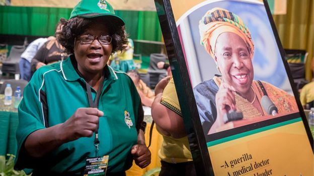 A delegate of the African National Womens League (ANCWL) chants in support former African Union Chair and current African National Congress (ANC) front runners for ANC President, Nkosazana Dlamini-Zuma (pictured on poster) during the Kwazulu-Natal ANC Womens League (ANCWL) Provincial Conference at the Playhouse theatre of Durban on September 3, 2017.
