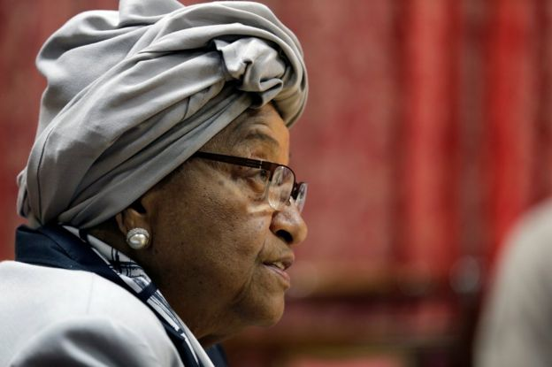 Liberia's President Ellen Johnson Sirleaf speaks during a news conference at the presidential palace in Monrovia, Liberia October 12, 2017