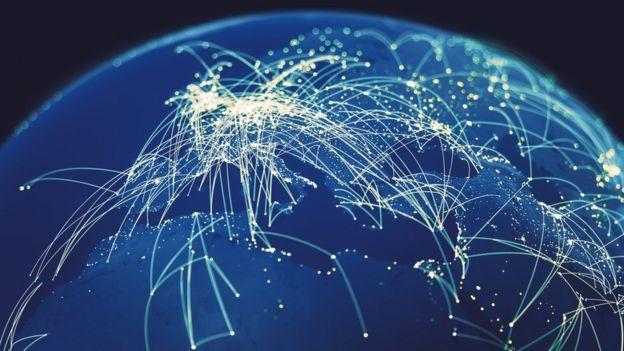 Mapa de conexões online no mundo