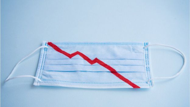 Ilustración de recesión en mascarilla.