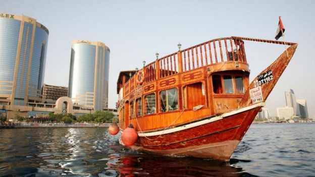 Dhow tours ply Dubai Creek