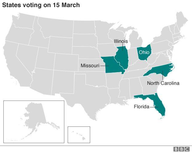 US Election Ohio And Florida Hold Key Primaries BBC News - Map of us ohio