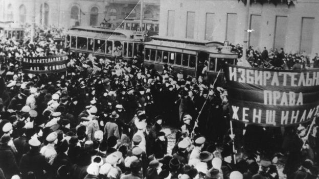 Women marching during the Russian Revolution in October 1917, demanding the right to vote. The Russian Revolution was a pair of revolutions in Russia in 1917, which dismantled the Tsarist autocracy and led to the eventual rise of the Soviet Union