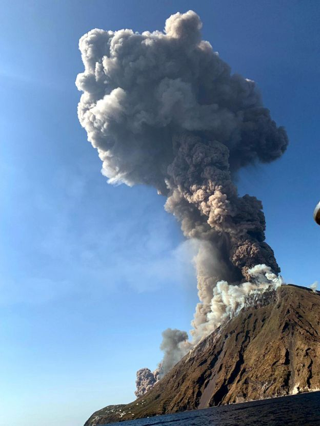 A plume of ash exploding from Stromboli following the explosion