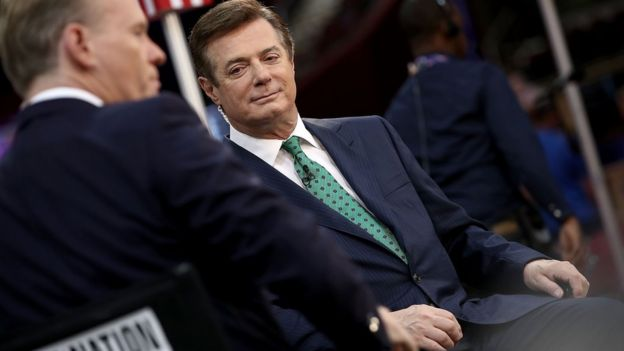 Manafort interviewed on the floor of the Republican convention when he served as Trump's campaign chairman