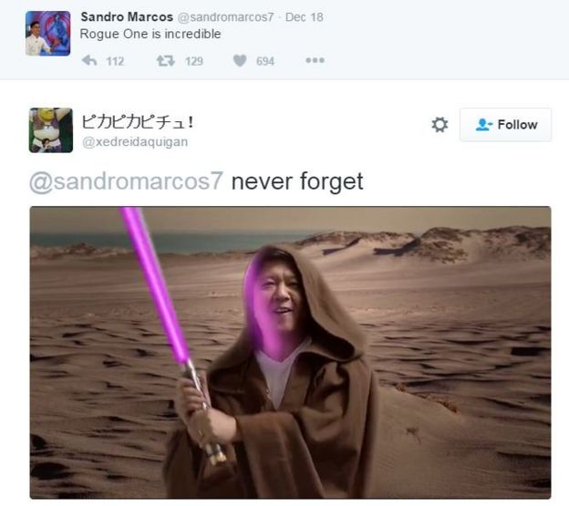 Marcos grandson mocked over Rogue One tweet - BBC News