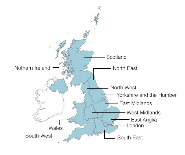 Map Of London North South East West.European Elections The View From Your Region Bbc News